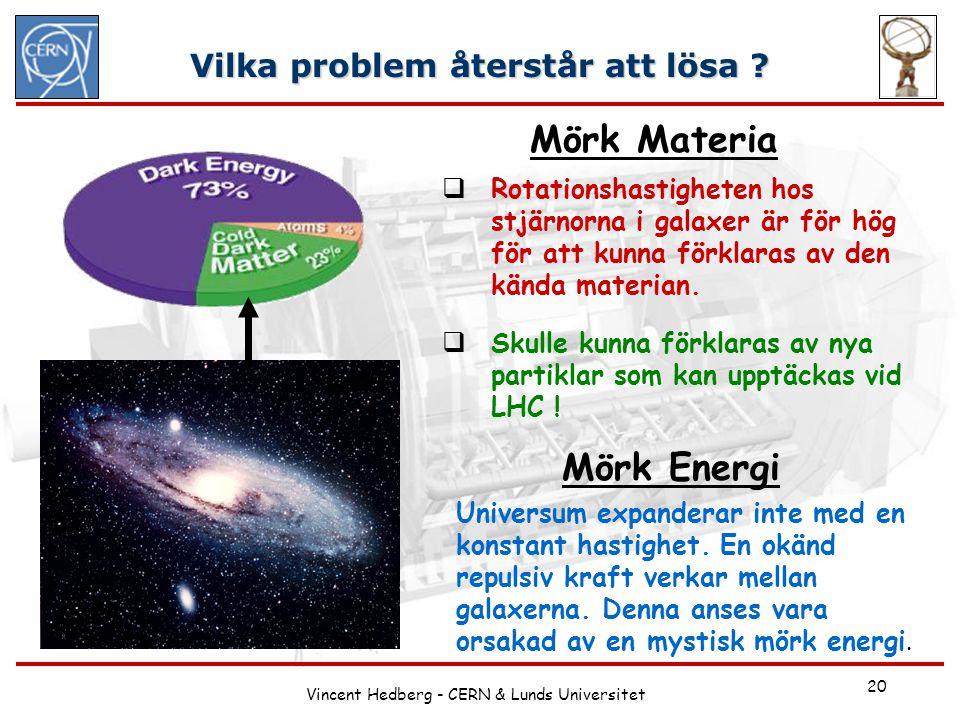Vincent Hedberg - CERN & Lunds Universitet 20 Vilka problem återstår att lösa ?  Rotationshastigheten hos stjärnorna i galaxer är för hög för att kun