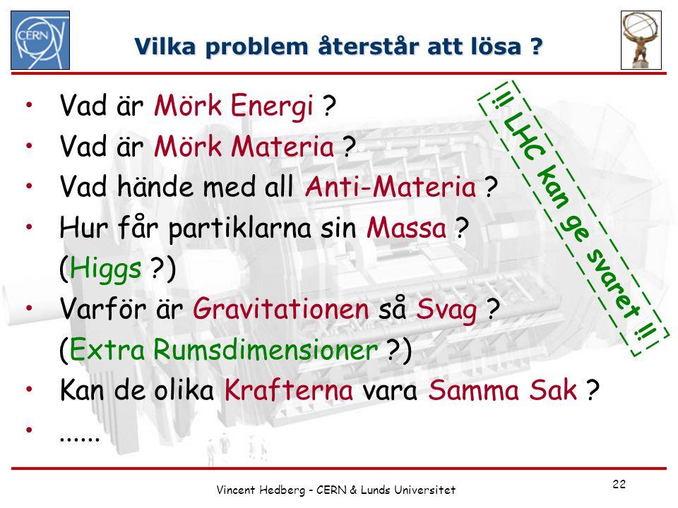 Vincent Hedberg - CERN & Lunds Universitet 22 Vilka problem återstår att lösa ? Vad är Mörk Energi ? Vad är Mörk Materia ? Vad hände med all Anti-Mate