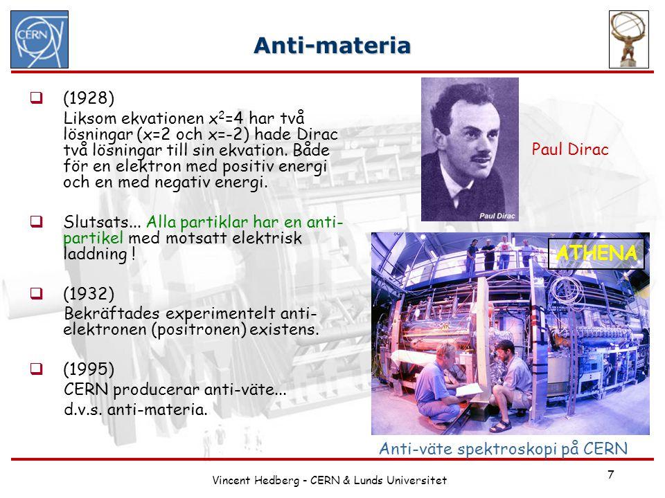 Vincent Hedberg - CERN & Lunds Universitet 7 Anti-materia  (1928) Liksom ekvationen x 2 =4 har två lösningar (x=2 och x=-2) hade Dirac två lösningar