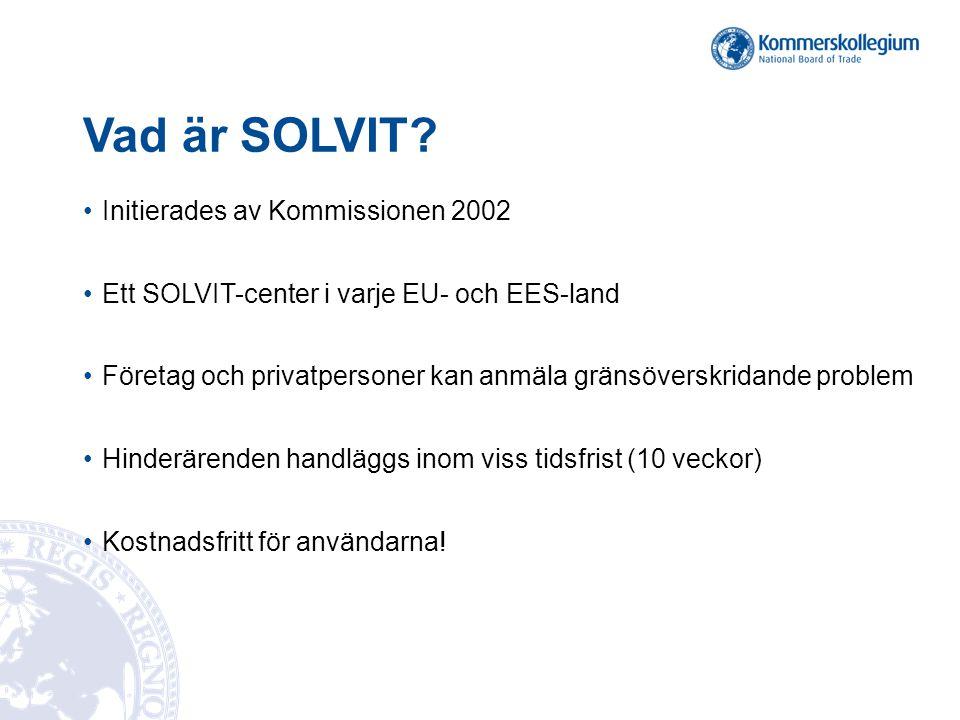 Vad är SOLVIT? Initierades av Kommissionen 2002 Ett SOLVIT-center i varje EU- och EES-land Företag och privatpersoner kan anmäla gränsöverskridande pr