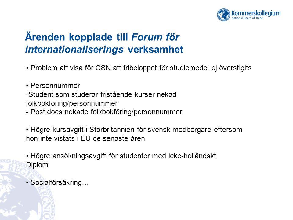 Ärenden kopplade till Forum för internationaliserings verksamhet Problem att visa för CSN att fribeloppet för studiemedel ej överstigits Personnummer