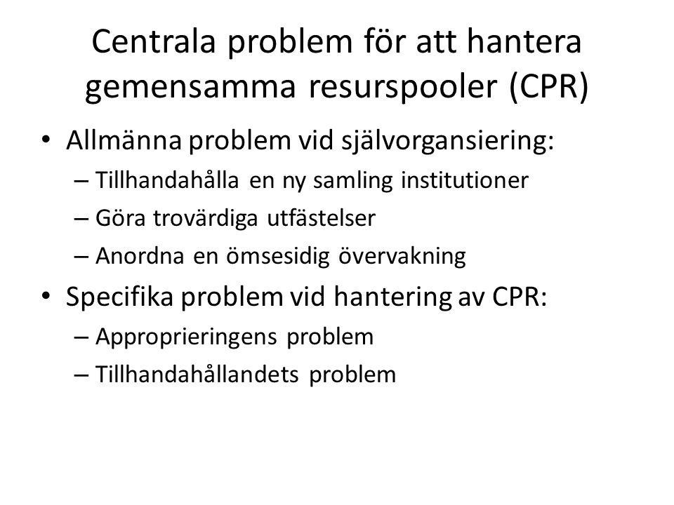 Centrala problem för att hantera gemensamma resurspooler (CPR) Allmänna problem vid självorgansiering: – Tillhandahålla en ny samling institutioner –