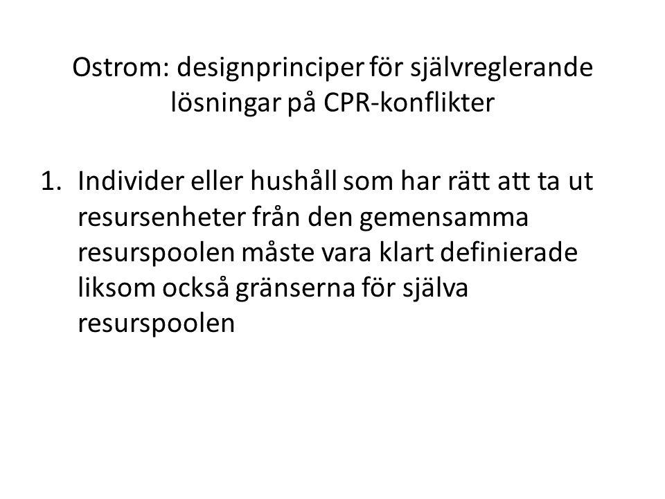Ostrom: designprinciper för självreglerande lösningar på CPR-konflikter 1.Individer eller hushåll som har rätt att ta ut resursenheter från den gemens