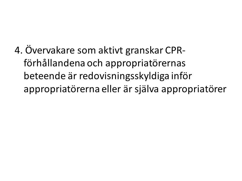 4. Övervakare som aktivt granskar CPR- förhållandena och appropriatörernas beteende är redovisningsskyldiga inför appropriatörerna eller är själva app