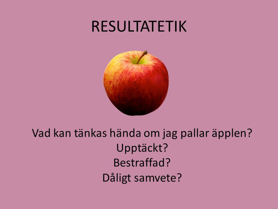 RESULTATETIK Vad kan tänkas hända om jag pallar äpplen? Upptäckt? Bestraffad? Dåligt samvete?