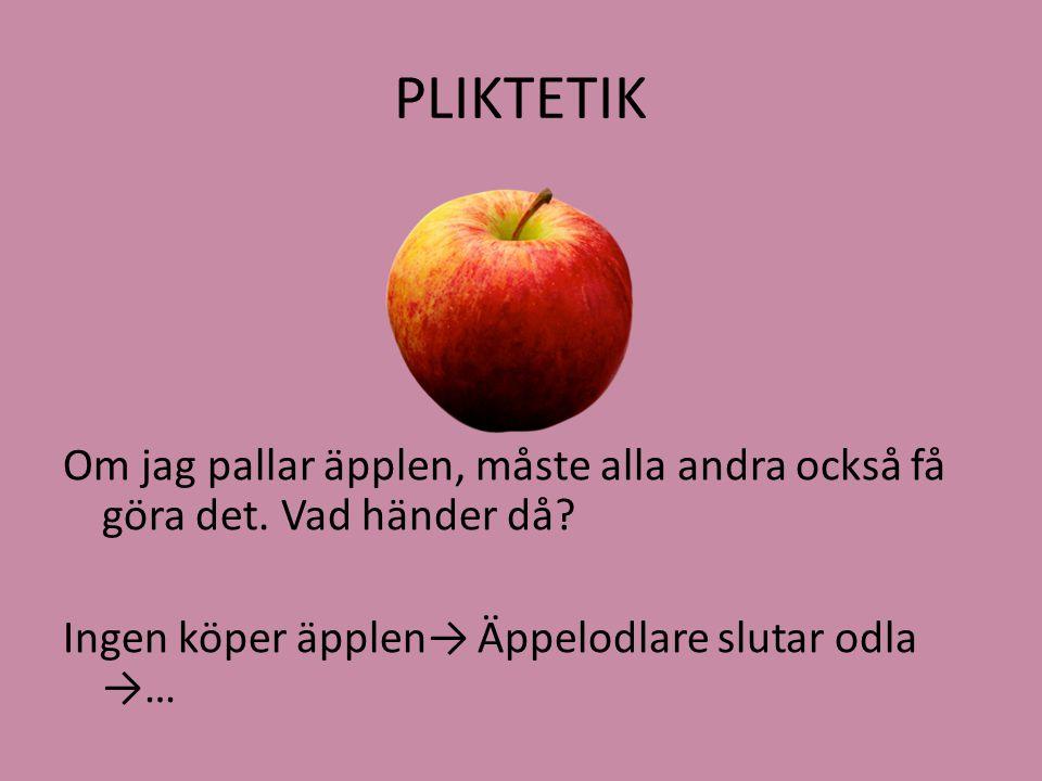 PLIKTETIK Om jag pallar äpplen, måste alla andra också få göra det. Vad händer då? Ingen köper äpplen→ Äppelodlare slutar odla →…