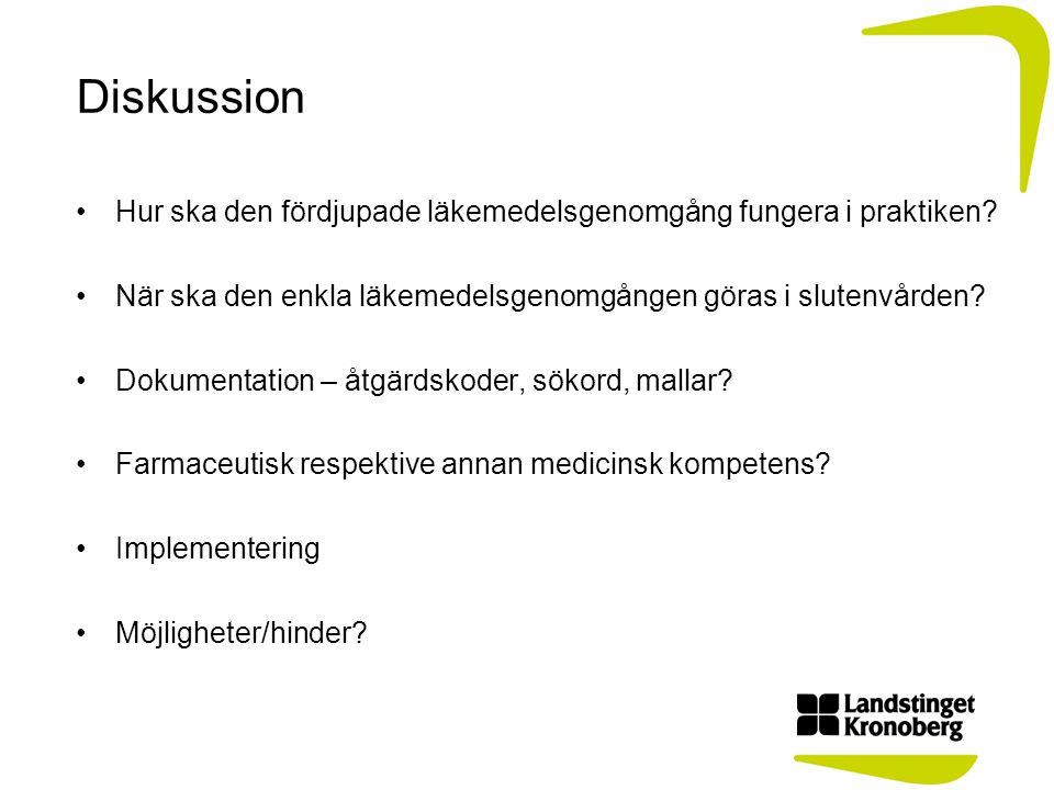 Diskussion Hur ska den fördjupade läkemedelsgenomgång fungera i praktiken? När ska den enkla läkemedelsgenomgången göras i slutenvården? Dokumentation