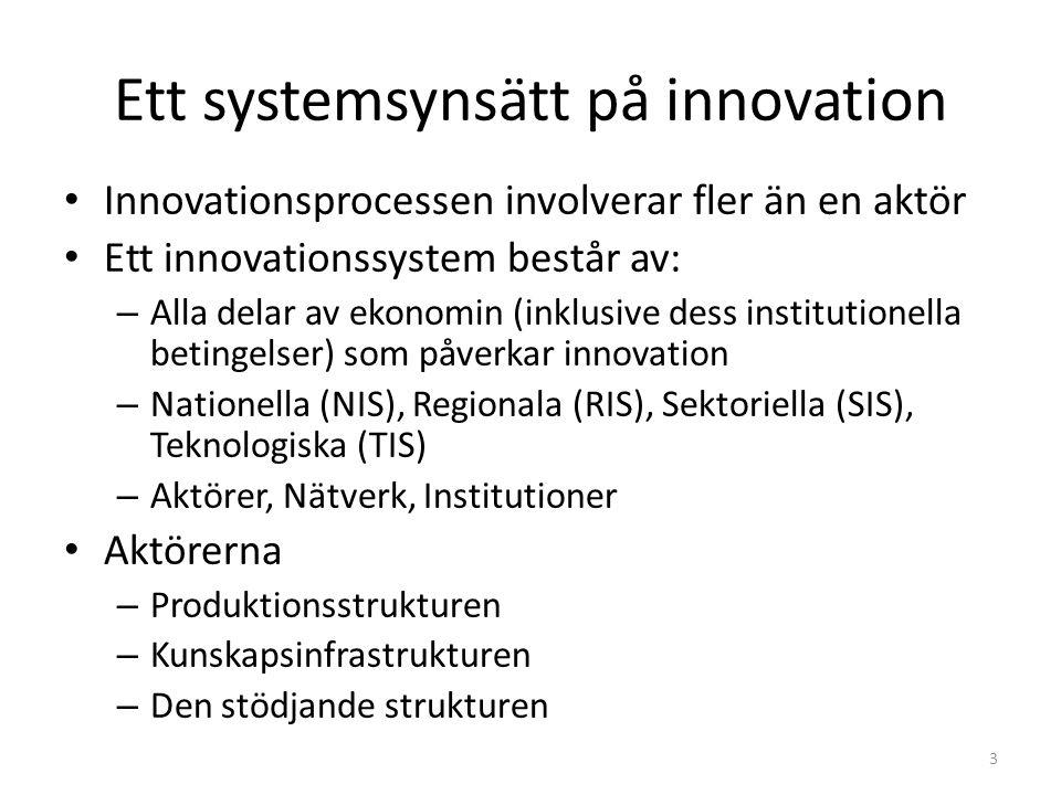 Ett systemsynsätt på innovation Innovationsprocessen involverar fler än en aktör Ett innovationssystem består av: – Alla delar av ekonomin (inklusive dess institutionella betingelser) som påverkar innovation – Nationella (NIS), Regionala (RIS), Sektoriella (SIS), Teknologiska (TIS) – Aktörer, Nätverk, Institutioner Aktörerna – Produktionsstrukturen – Kunskapsinfrastrukturen – Den stödjande strukturen 3