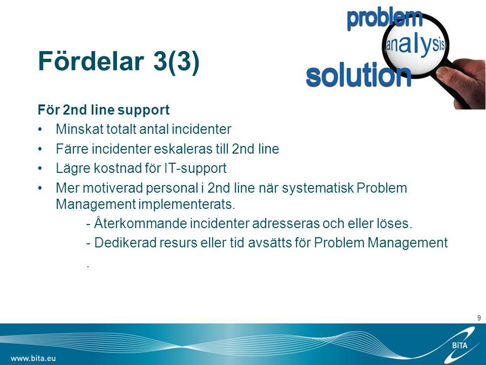 Fördelar 3(3) För 2nd line support Minskat totalt antal incidenter Färre incidenter eskaleras till 2nd line Lägre kostnad för IT-support Mer motiverad