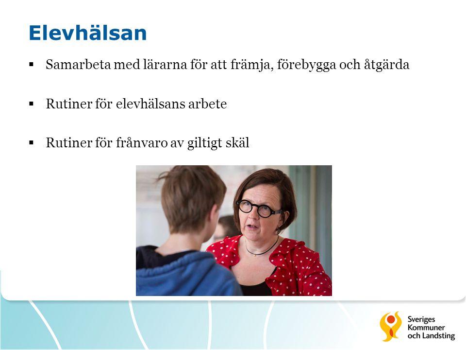Elevhälsan  Samarbeta med lärarna för att främja, förebygga och åtgärda  Rutiner för elevhälsans arbete  Rutiner för frånvaro av giltigt skäl