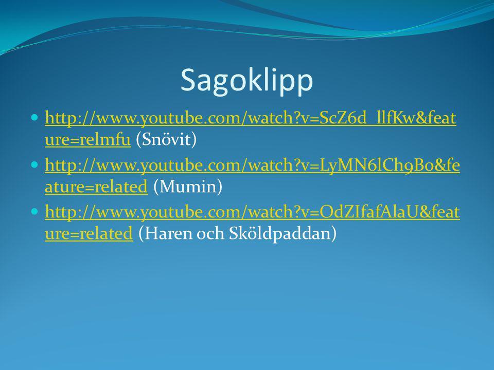 Sagoklipp http://www.youtube.com/watch?v=ScZ6d_llfKw&feat ure=relmfu (Snövit) http://www.youtube.com/watch?v=ScZ6d_llfKw&feat ure=relmfu http://www.youtube.com/watch?v=LyMN6lCh9B0&fe ature=related (Mumin) http://www.youtube.com/watch?v=LyMN6lCh9B0&fe ature=related http://www.youtube.com/watch?v=OdZIfafAlaU&feat ure=related (Haren och Sköldpaddan) http://www.youtube.com/watch?v=OdZIfafAlaU&feat ure=related