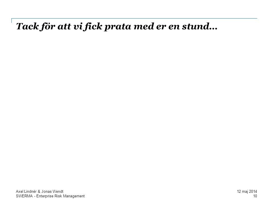SWERMA - Enterprise Risk Management Tack för att vi fick prata med er en stund… 10 Axel Lindnér & Jonas Wendt 12 maj 2014