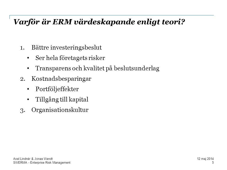 SWERMA - Enterprise Risk Management Vad driver Svenska företag till att implementera ERM.