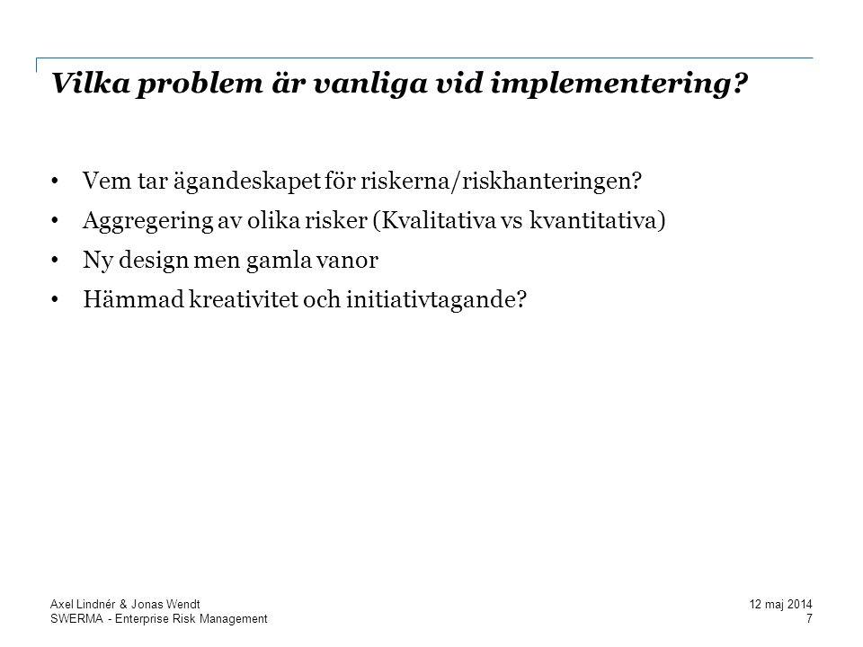 SWERMA - Enterprise Risk Management Vilka problem är vanliga vid implementering.