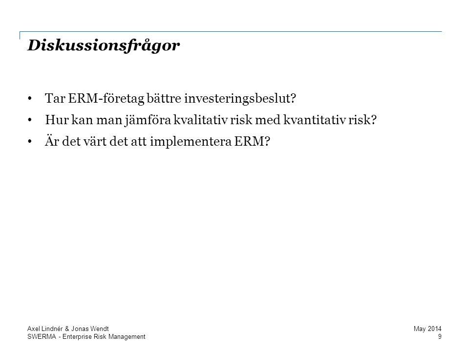 SWERMA - Enterprise Risk Management Diskussionsfrågor Tar ERM-företag bättre investeringsbeslut.