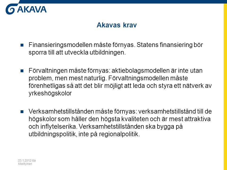 Akavas krav Finansieringsmodellen måste förnyas. Statens finansiering bör sporra till att utveckla utbildningen. Förvaltningen måste förnyas: aktiebol