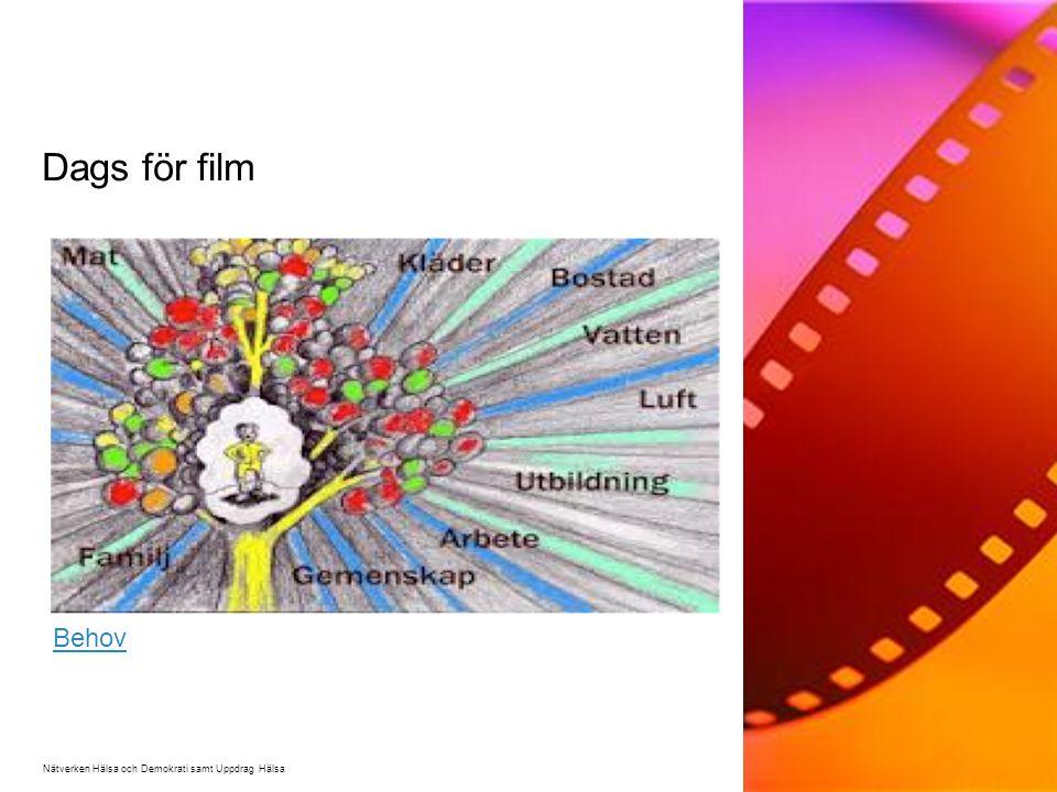 Dags för film Nätverken Hälsa och Demokrati samt Uppdrag Hälsa Behov