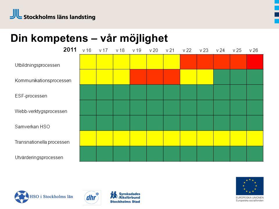 2011 v 16v 17v 18v 19v 20v 21v 22v 23v 24v 25v 26 Utbildningsprocessen Kommunikationsprocessen ESF-processen Webb-verktygsprocessen Samverkan HSO Transnationella processen Utvärderingsprocessen