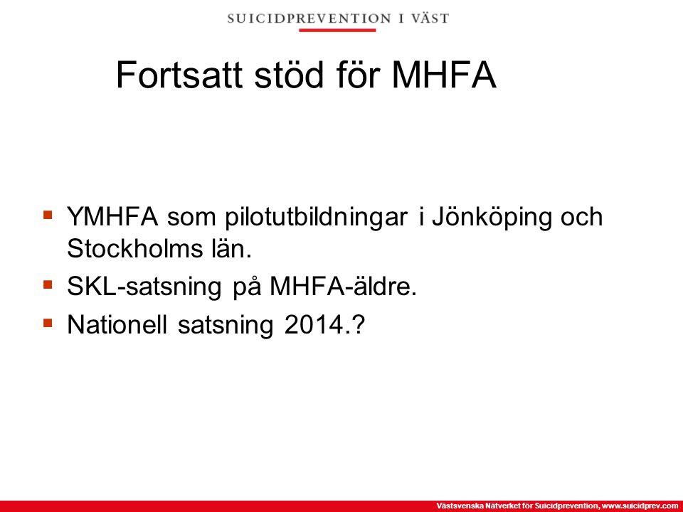 Västsvenska Nätverket för Suicidprevention, www.suicidprev.com Fortsatt stöd för MHFA  YMHFA som pilotutbildningar i Jönköping och Stockholms län. 