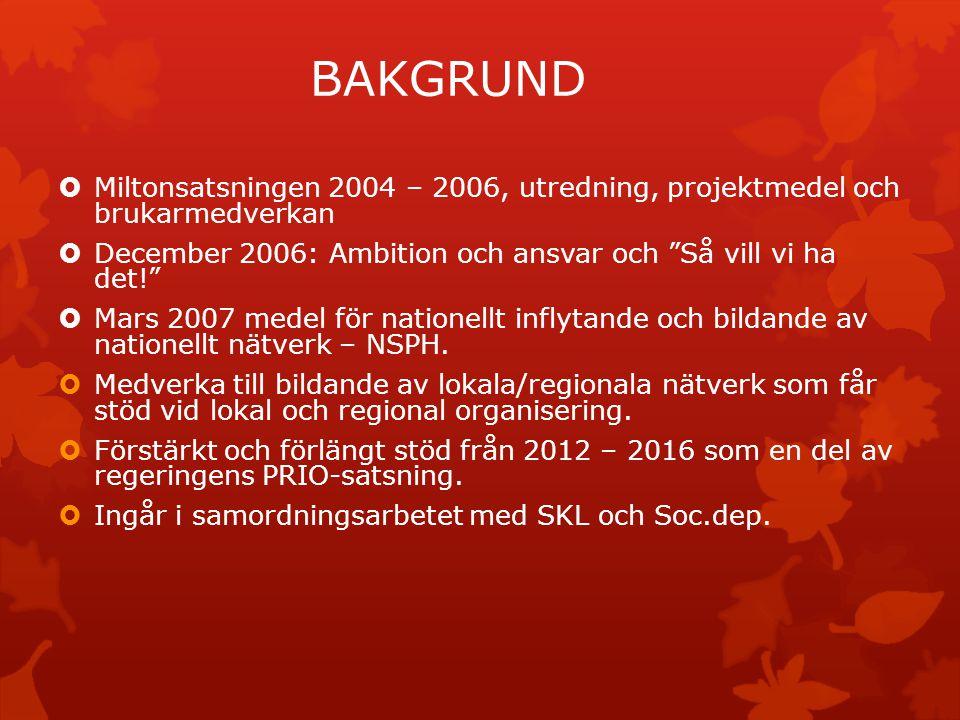 """BAKGRUND  Miltonsatsningen 2004 – 2006, utredning, projektmedel och brukarmedverkan  December 2006: Ambition och ansvar och """"Så vill vi ha det!""""  M"""