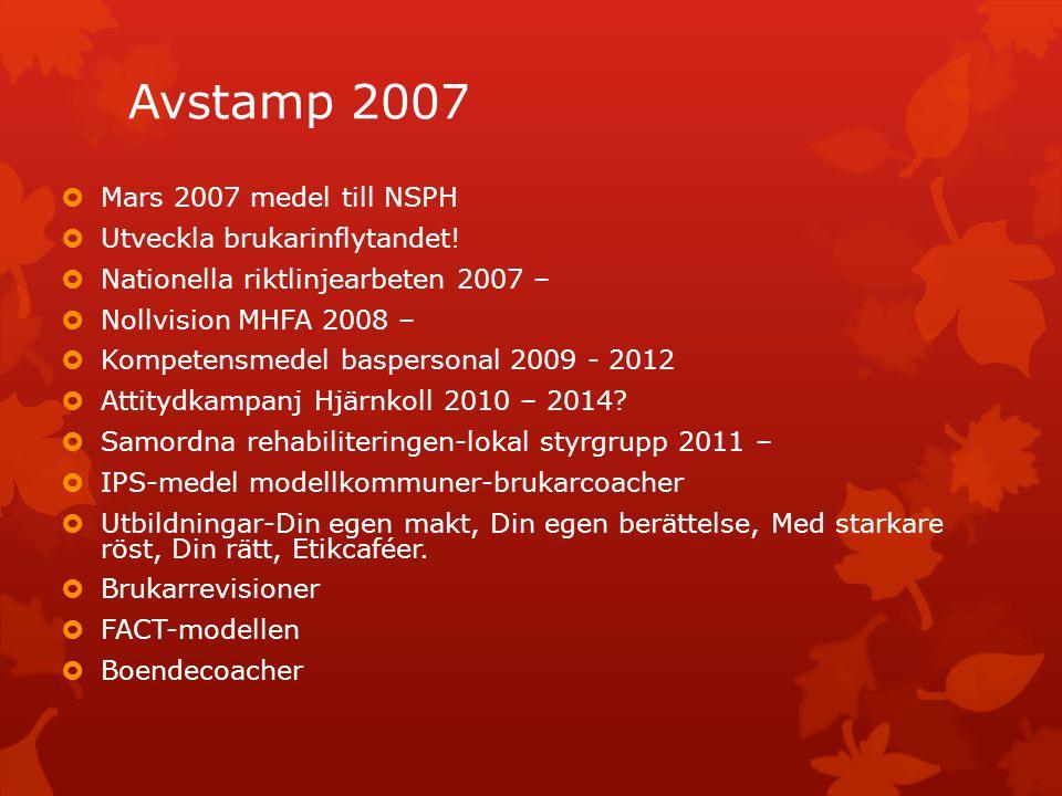 Avstamp 2007  Mars 2007 medel till NSPH  Utveckla brukarinflytandet!  Nationella riktlinjearbeten 2007 –  Nollvision MHFA 2008 –  Kompetensmedel