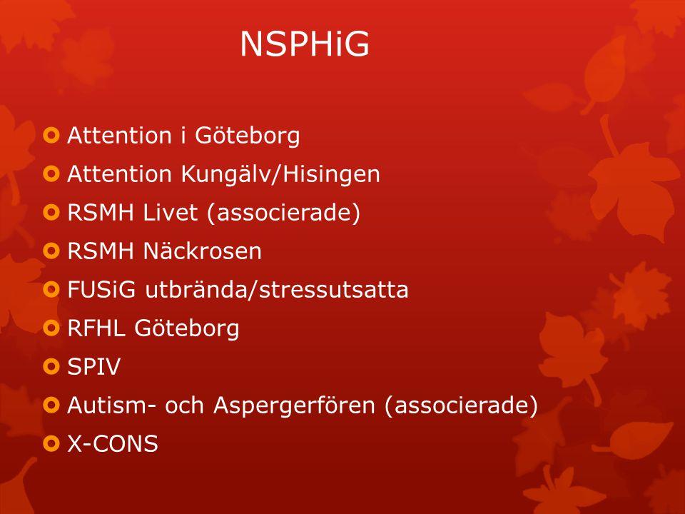 NSPHiG forts  OCD-föreningen Ananke  Göteborgsfontänen  Ångestsyndromsällskapet (associerade)  Aktivitetshusets vänner  Föreningen Frisk/Fri i Göteborg  Gyllenkroken  SPES  IBIS  SHEDO