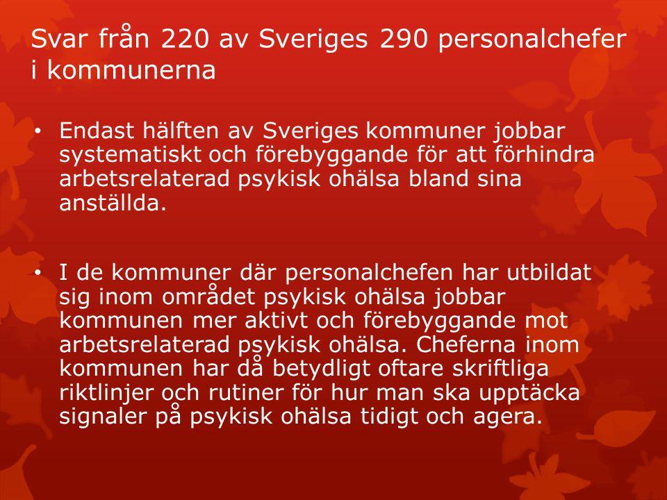 Svar från 220 av Sveriges 290 personalchefer i kommunerna Endast hälften av Sveriges kommuner jobbar systematiskt och förebyggande för att förhindra a