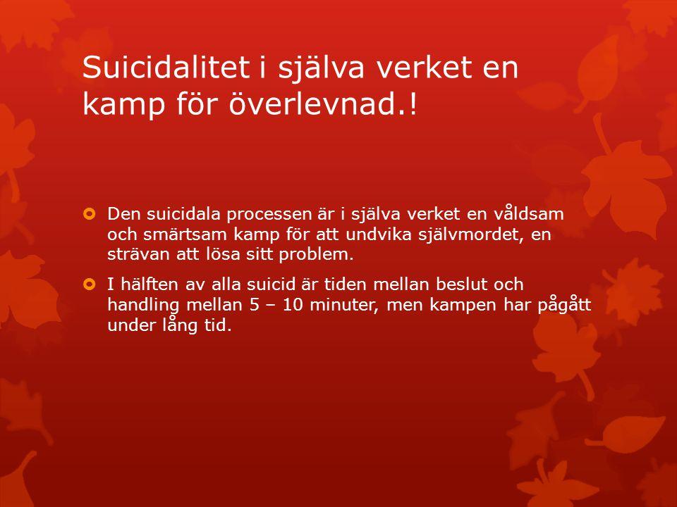 Suicidalitet i själva verket en kamp för överlevnad.!  Den suicidala processen är i själva verket en våldsam och smärtsam kamp för att undvika självm