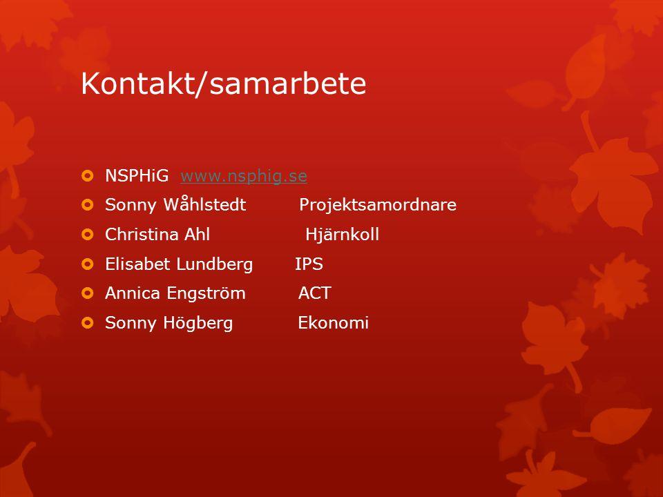 Kontakt/samarbete  NSPHiG www.nsphig.sewww.nsphig.se  Sonny Wåhlstedt Projektsamordnare  Christina Ahl Hjärnkoll  Elisabet Lundberg IPS  Annica E