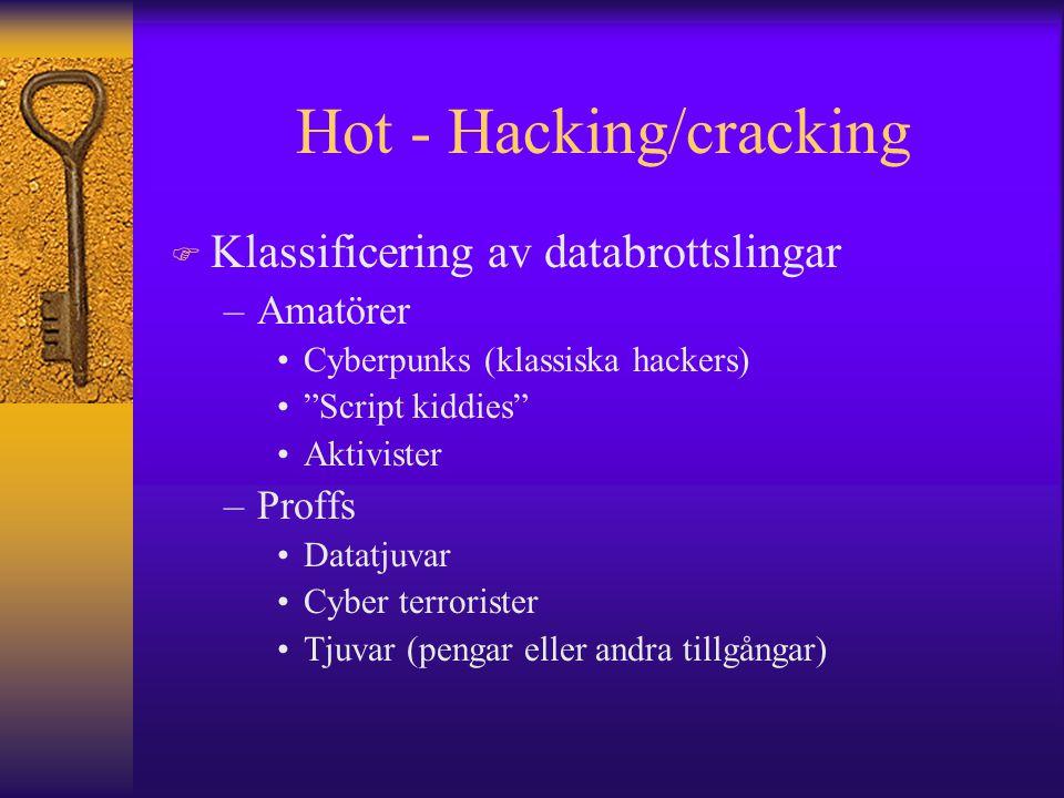 """Hot - Hacking/cracking F Klassificering av databrottslingar –Amatörer Cyberpunks (klassiska hackers) """"Script kiddies"""" Aktivister –Proffs Datatjuvar Cy"""