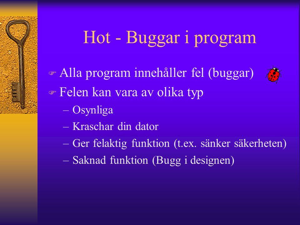 Hot - Buggar i program F Alla program innehåller fel (buggar) F Felen kan vara av olika typ –Osynliga –Kraschar din dator –Ger felaktig funktion (t.ex