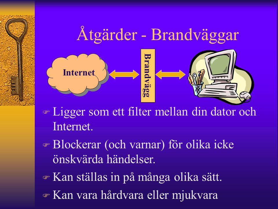 Åtgärder - Brandväggar Internet F Ligger som ett filter mellan din dator och Internet. F Blockerar (och varnar) för olika icke önskvärda händelser. F