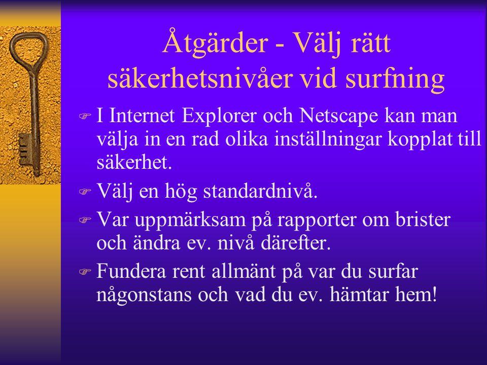 Åtgärder - Välj rätt säkerhetsnivåer vid surfning F I Internet Explorer och Netscape kan man välja in en rad olika inställningar kopplat till säkerhet