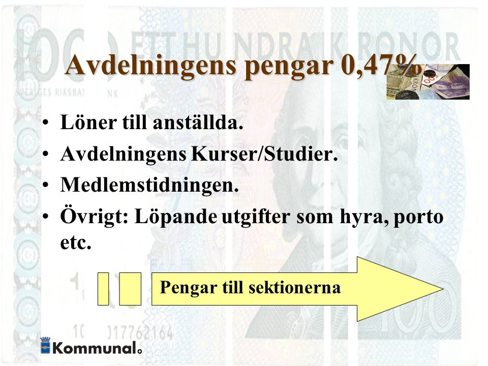Avdelningens pengar 0,47% Löner till anställda. Avdelningens Kurser/Studier.