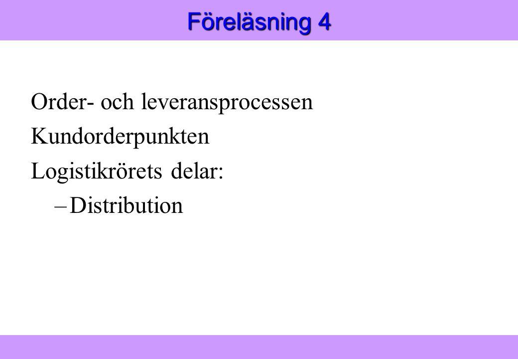 Modern Logistik Aronsson, Ekdahl, Oskarsson, Modern Logistik Aronsson, Ekdahl, Oskarsson, © Liber 2003 Föreläsning 4 Order- och leveransprocessen Kundorderpunkten Logistikrörets delar: –Distribution