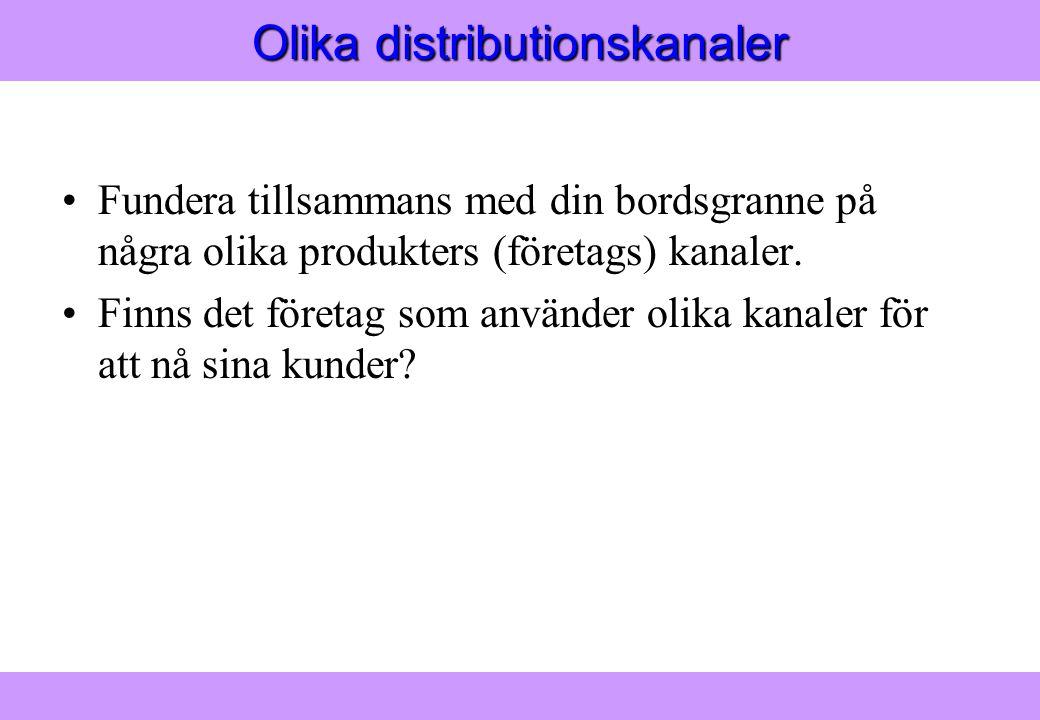 """""""Modern Logistik"""" Aronsson, Ekdahl, Oskarsson, """"Modern Logistik"""" Aronsson, Ekdahl, Oskarsson, © Liber 2003 Olika distributionskanaler Fundera tillsamm"""