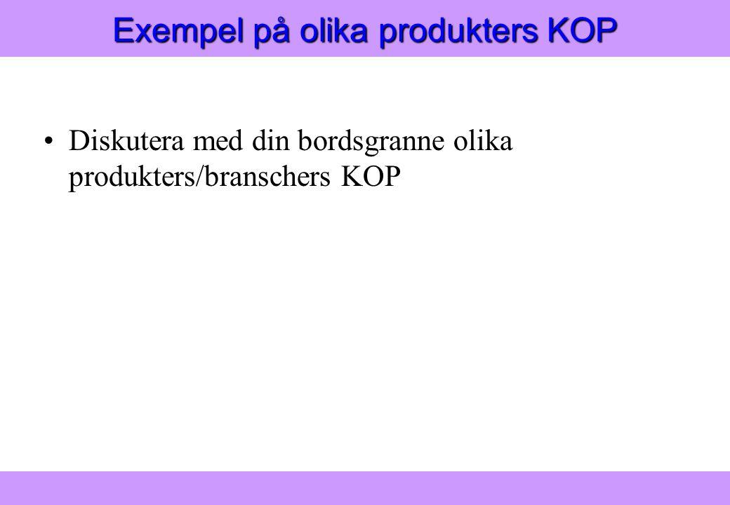 """Modern Logistik"" Aronsson, Ekdahl, Oskarsson, ""Modern Logistik"" Aronsson, Ekdahl, Oskarsson, © Liber 2003 Exempel på olika produkters KOP Diskutera m"