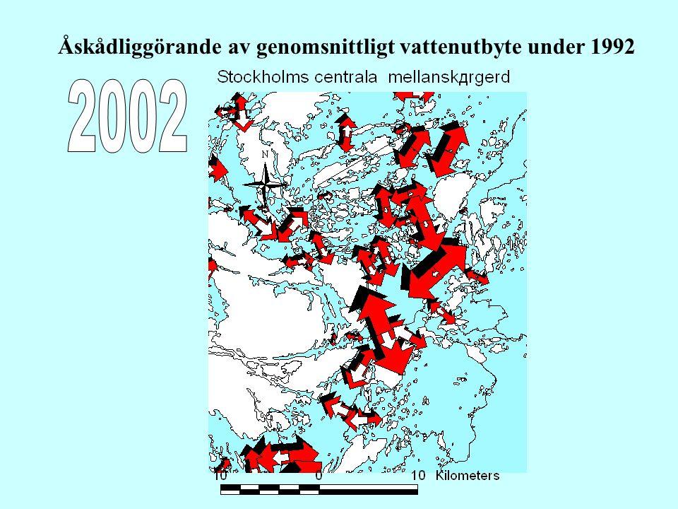 Åskådliggörande av genomsnittligt vattenutbyte under 1992
