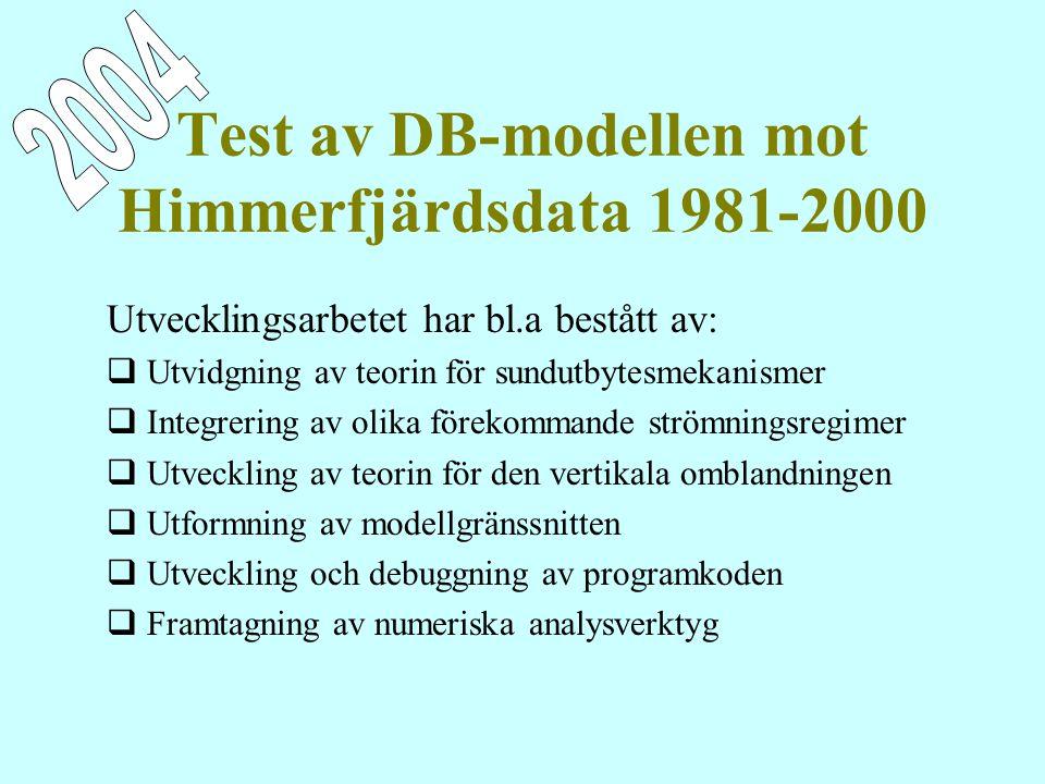 Test av DB-modellen mot Himmerfjärdsdata 1981-2000 Utvecklingsarbetet har bl.a bestått av:  Utvidgning av teorin för sundutbytesmekanismer  Integrering av olika förekommande strömningsregimer  Utveckling av teorin för den vertikala omblandningen  Utformning av modellgränssnitten  Utveckling och debuggning av programkoden  Framtagning av numeriska analysverktyg