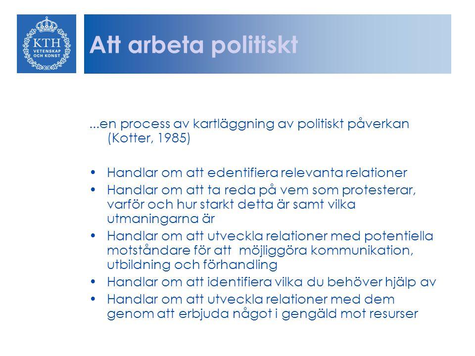 Att arbeta politiskt...en process av kartläggning av politiskt påverkan (Kotter, 1985) Handlar om att edentifiera relevanta relationer Handlar om att