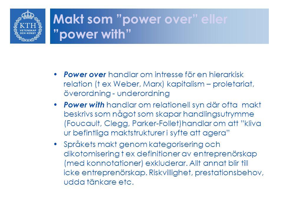 """Makt som """"power over"""" eller """"power with"""" Power over handlar om intresse för en hierarkisk relation (t ex Weber, Marx) kapitalism – proletariat, överor"""