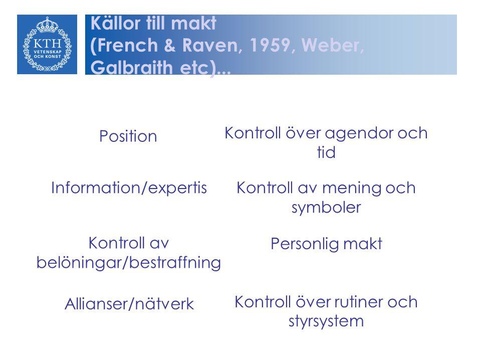 Position Information/expertis Kontroll av belöningar/bestraffning Allianser/nätverk Kontroll över agendor och tid Kontroll av mening och symboler Pers