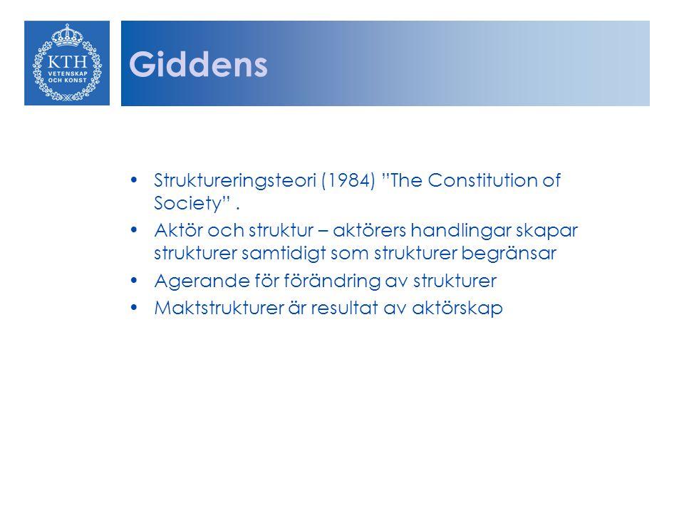 """Giddens Struktureringsteori (1984) """"The Constitution of Society"""". Aktör och struktur – aktörers handlingar skapar strukturer samtidigt som strukturer"""