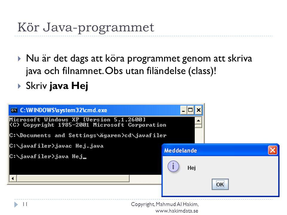 Kör Java-programmet Copyright, Mahmud Al Hakim, www.hakimdata.se 11  Nu är det dags att köra programmet genom att skriva java och filnamnet. Obs utan