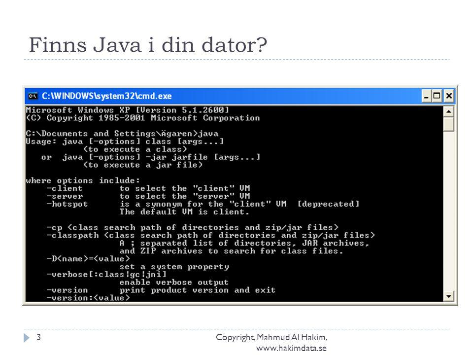 Finns Java i din dator? Copyright, Mahmud Al Hakim, www.hakimdata.se 3