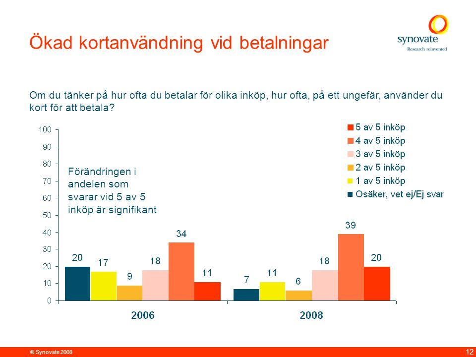 © Synovate 2008 12 Ökad kortanvändning vid betalningar Om du tänker på hur ofta du betalar för olika inköp, hur ofta, på ett ungefär, använder du kort