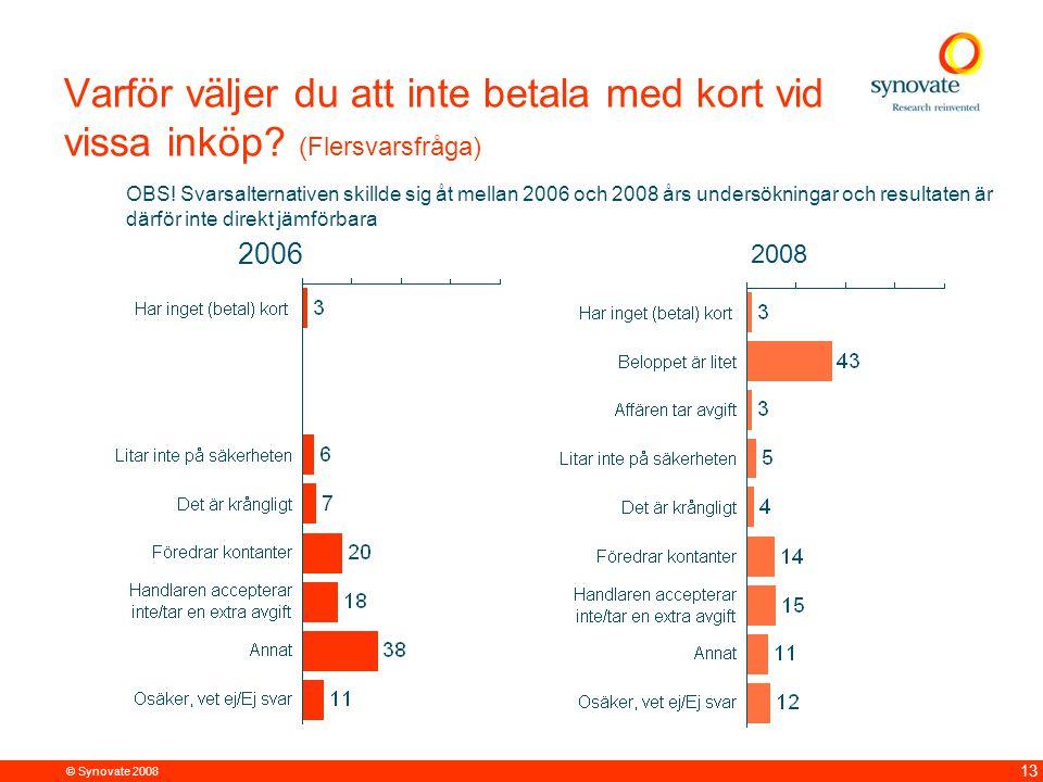 © Synovate 2008 13 Varför väljer du att inte betala med kort vid vissa inköp? (Flersvarsfråga) OBS! Svarsalternativen skillde sig åt mellan 2006 och 2