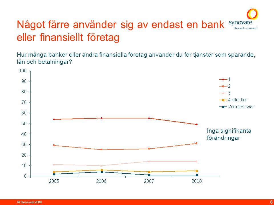 © Synovate 2008 8 Något färre använder sig av endast en bank eller finansiellt företag Hur många banker eller andra finansiella företag använder du för tjänster som sparande, lån och betalningar.