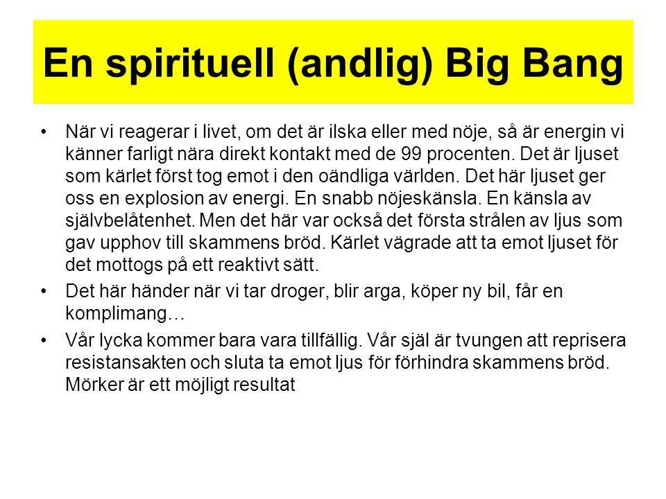 En spirituell (andlig) Big Bang När vi reagerar i livet, om det är ilska eller med nöje, så är energin vi känner farligt nära direkt kontakt med de 99