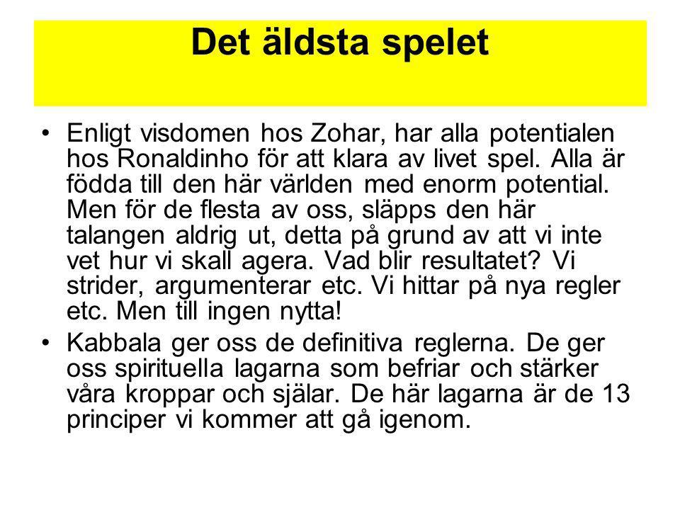 Det äldsta spelet Enligt visdomen hos Zohar, har alla potentialen hos Ronaldinho för att klara av livet spel. Alla är födda till den här världen med e
